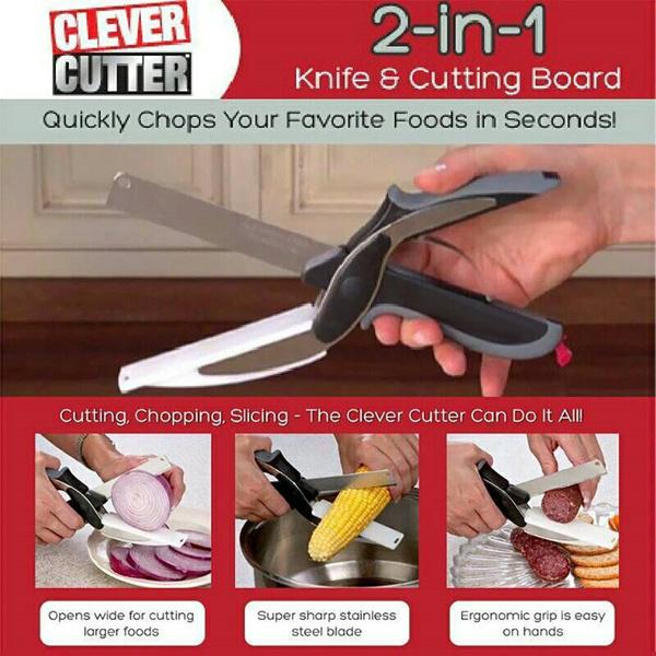 Clever Cutter/ Gunting Pisau 2in1/ Pisau dan Talenan multifungsi Deals for only Rp27.000 instead of Rp27.000