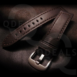 MEN WATCH ACCESSORY Brown Calf Leather Watch Strap Band W Steel Buckle Suits Panerai IWC Longines Omega-22mm/24mm/26mm