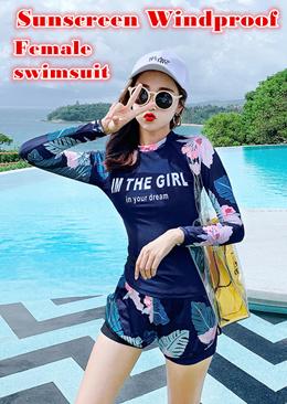 Korea fashion Swimming wear women swimwear female set swimsuit sunscreen windproof Long sleeve