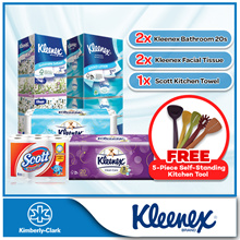 (BUNDLE DEALS] 2 x Kleenex Bathroom rolls + 2 x Kleenex Facial Tissues + 1 Scott Kitchen Towels