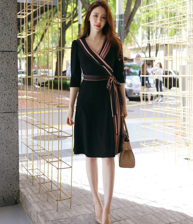 [55555SHOP]黒いドレスの韓国風スリムドレスセクシーホルターストラップレス×リトルブラックドレスハーネスドレス