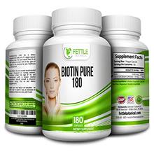 Biotin 10,000mcg 180 Capsules + Calcium 176mg Advanced Hair, Skin, & Nails Complex Biotin Fettle Bot