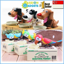 ★NEW★Qoo10 CHEAPEST★Choken Puppy/Tori Parrot Hungry Eating Coin Bank Money Saving Box★ TOY