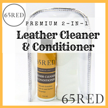[65RED] 2-in-1 Premium Leather Cleaner and Conditioner 200ml with Microfibre Cloth. Non Toxic Gentle