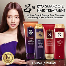 ★ [RYO] Korean No.1 Hair Care Brand! Ryo Anti-Hair Loss Treatment 200ml | Ryo Nourishing Hair Treatment 180ml | Ryo Damage Care Shampoo 180ml | Ryo Anti Hair Loss Shampoo 180ml