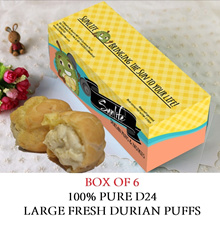 [Sunlife] Large D24 Durian Puffs. Box of 6. Redeem at Causeway Point or Bedok!