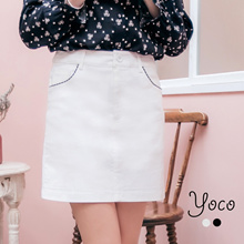 YOCO - Mini Skirt with Checked Trimmings-170230