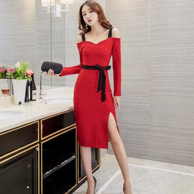 冬 ファッション レディーズ女性 厚い パーティー スレンダーライン ワンピース 肩出し スプリット裾