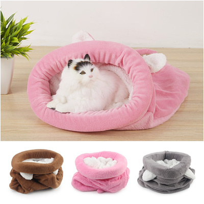 35387d5fc2d6 Cute Cat Sleeping Bag Winter Warm Cat Bed Small Dog House For Small Animals  Soft Rabbit Nest Cushion