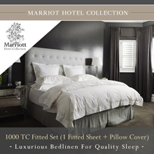 Marriott Hotel Collection 1000 TC Fitted Set  1 Fitted Sheet + Pillow Cover