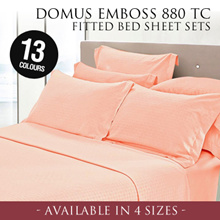 DOMUS Emboss 880 Thread Count Fitted Bed sheet Set  / 13 Colours / 4 Sizes!
