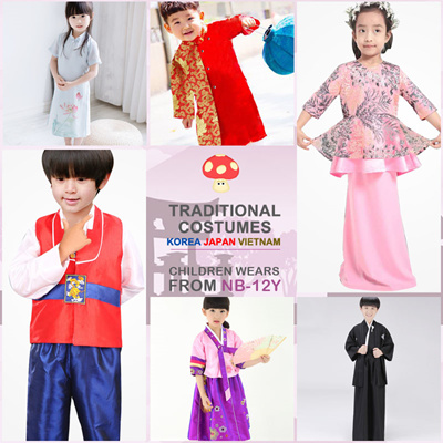847388a20 + LITTLE MUSHROOMS +   KJV   CHILDREN KIDS TRADITIONAL COSTUMES HANBOK  KIMONO   KOREA JAPAN VIETNAM: 103 sold: Rating: 5: Free~: S$45.90 S$29.90