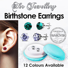 Swarovski® Crystals - Birth Stone Earrings 5mm (18k White Gold Plated) Her Jewellery