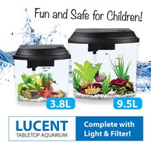 Tabletop Aquarium Fish Tank (with LED Lights and Filter) 3.8L / 9.5L