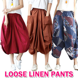 2019  New Loose  Linen pants/Linen Cotton Harem Pants/Wide Leg Pants