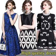 High quality dress elegant dress/European British style/Office dress/Longer dress/plus size dress