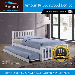 Amour® Solid Wood Single size Super Single size Wooden bed with pull out bed FREE DELIVERY
