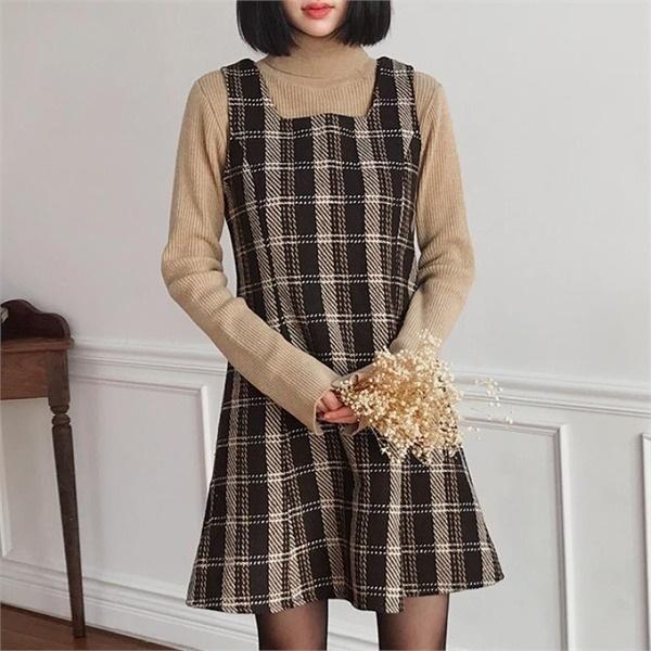 チェックフレアワンピースONE366new ミニワンピース/ワンピース/韓国ファッション