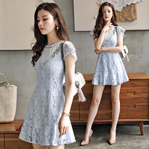 2017夏の新しい女性のスリムレース半袖ドレスの長いセクションでは、スカートをフラウンス付き韓国ファッション/ワンピース/花柄ワンピース/Vネックワンピース