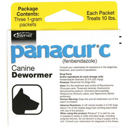 Panacur C Canine Dewormer Treatment Three 1-Gram Packets, Each Packet Treats 10 lbs