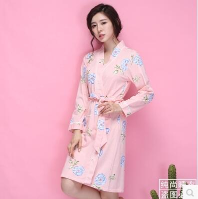 401ebb9c92 Lady Cotton Bathrobe Pajamas Sleepwear Long Sleeve Bath Robe Japanese  Kimono Night-robe Homewear