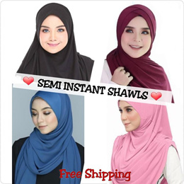 * CNY SALE * Semi Instant/Instant Shawls | Lycra/Moss Crepe | Cotton | Muslimah |
