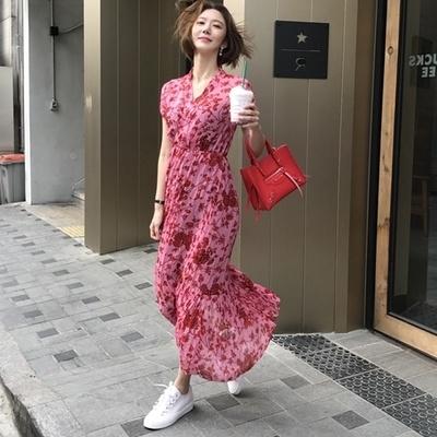 腰と2017年夏の新色快適なファッションVネックドレス/韓国ファッション/ワンピース/花柄ワンピース/Vネックワンピース