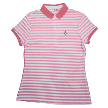 HUSH PUPPIES LADIES STRIPE POLO|100% COTTON|#HLP947895RED
