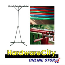 Heavy Duty Wrought Iron Laundry Drying Rack Bamboo Pole Stand Set