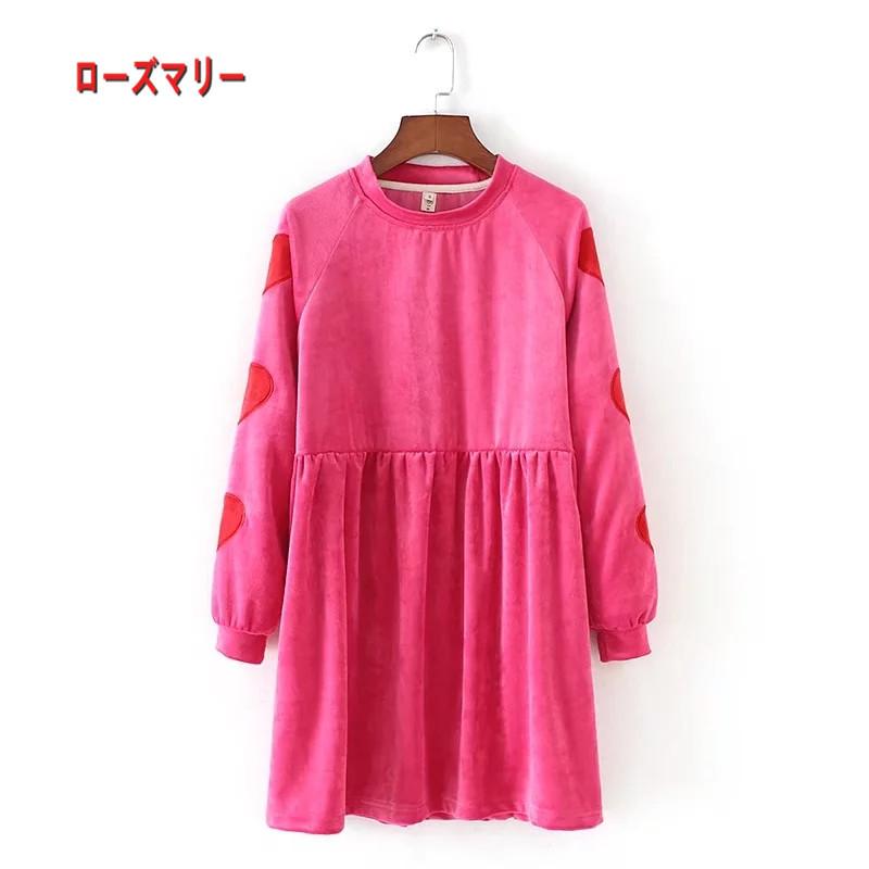 【ローズマリー】ファッションサイズのピンク袖刺繍ワンピース 長袖ワンピース 刺繍レース スイート  ヴィンテージ調-R507