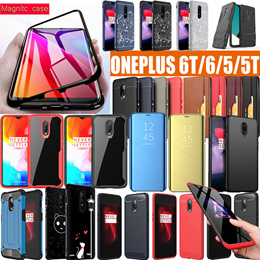 Oneplus 6t 6 5 5t 3 3t Flip PU Leather over case 3D Full Tempered Glass