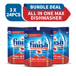 Finish Bundle of 2 Powerball / Detergent Powder / Quantum Max + Free Dishwasher Cleaner