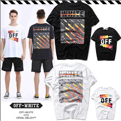 4e9ca512532a OFF WHITE Short-Sleeve T-Shirt Slant Stripe Frame Flare Men Women Tee  Clothing