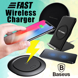 Wireless Charger Qi Fast Charge Baseus Charging Pad Stand 10W iPhone X 8 Plus XS Samsung Note 9 S9