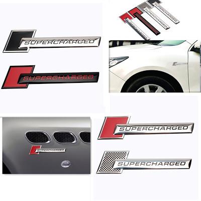 Supercharged Emblem Badge Decoration Sticker Decals For Audi Chevrolet Volkswagen Metal Accessories