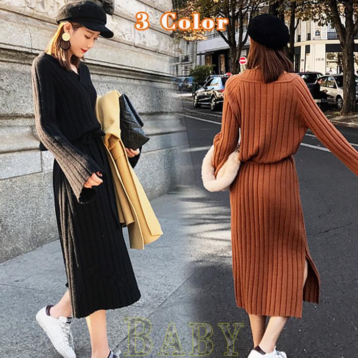 【B392】セーターの女性がゆったりとして首を長くしてハイネックしてワンピースが 韓国ファッション ワンピース ニット