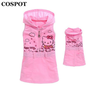 83a322fa185a4 shop COSPOT 2018 New Girls Hello Kitty Dress Baby Girl Sleeveless Sundress  Girl s Cute Hooded Dresse