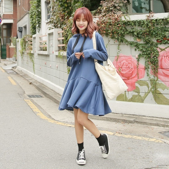 クルリクエンミシャラルラフードワンピース 綿ワンピース/ 韓国ファッション