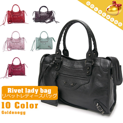 955904edb29abd ☆Hollywood Star′s Pick◇European Styling Synthetic Leather Rivet Point 2 way  Bags
