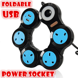 USB multi way Charger power socket foldable extension cord/smart ports UK plug