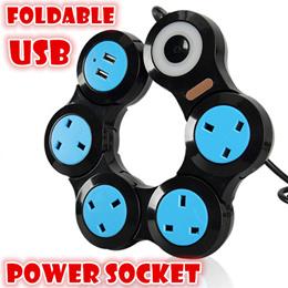USB multi way Charger power socket foldable extension cord/smart ports UK plug
