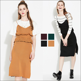 Rib Knit Midi Strap Dress Korean Style Stretchable in 4 colors.SG Delivery !  Fast shipping!