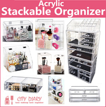 Acrylic Stackable cosmetic organizer jewelry Organizer brush holder Makeup box  Transparent Storage