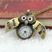 Singapore Direct factory price wholesale fashion pocket watch with cartoon bronze owl pocket watch p