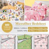 *Flash Deal*Year 2021 Designs 800 TC High Quality Microfiber bedsheet Single/S.Single/Queen/King
