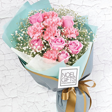 [NoelGifts.com] Hand Bouquet for Your Loved Ones - Roses Gerberas Baby Breath Carnations
