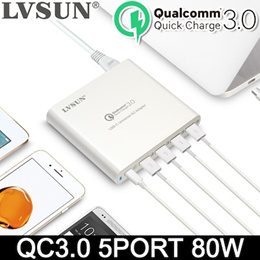 [LVSUN] 80W Multi-speed charger / Q5UPD / USB-C Laptop  QC 3.0Charger / 5USB Port / Ultra Fast