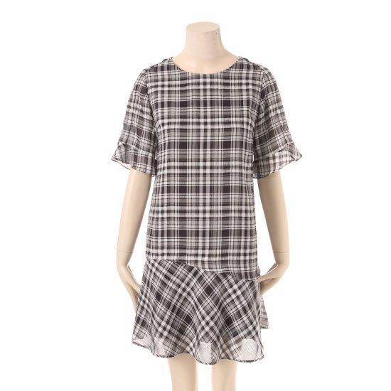 タプゴルの裾フレアチェックワンピースTHB5OP731F 面ワンピース/ 韓国ファッション