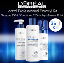 [U.P $78] Loreal Professionnel Serioxyl 3-in-1 Kit for Natural/ Coloured Thinning Hair (Shampoo 250ml + Conditioner 250ml + Aqua Mousse 125ml) 🌟Hair Loss Solution🌟
