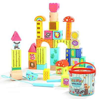 Top Bright Wooden Building Blocks Set Gifts For Toddlers Toys For 2 3 Year Old Boys Girls Educati